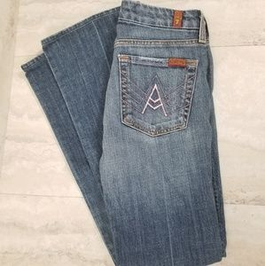 7FAM Pink 'A' Pocket BootCut Distressed Jeans